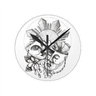 Drama Mask Hibiscus Sampaguita Flower Philippine S Round Clock