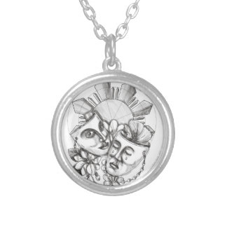 Drama Mask Hibiscus Sampaguita Flower Philippine S Silver Plated Necklace