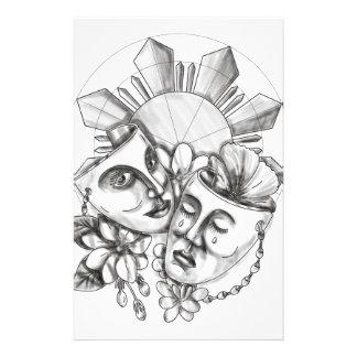 Drama Mask Hibiscus Sampaguita Flower Philippine S Stationery