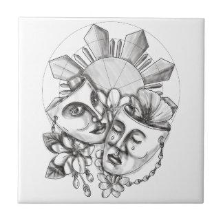 Drama Mask Hibiscus Sampaguita Flower Philippine S Tile