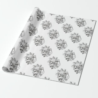 Drama Mask Hibiscus Sampaguita Flower Philippine S Wrapping Paper