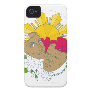 Drama Mask Philippine Sun Hibiscus Sampaguita Flow Case-Mate iPhone 4 Cases