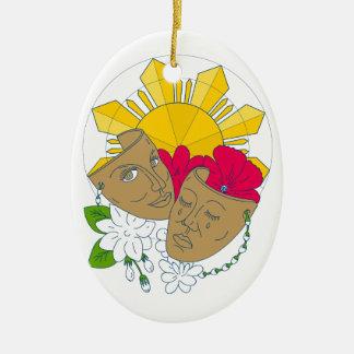 Drama Mask Philippine Sun Hibiscus Sampaguita Flow Ceramic Oval Ornament