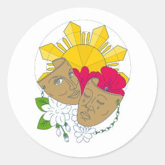 Drama Mask Philippine Sun Hibiscus Sampaguita Flow Classic Round Sticker