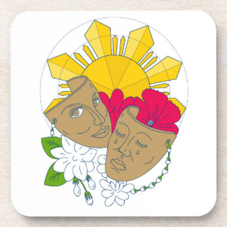 Drama Mask Philippine Sun Hibiscus Sampaguita Flow Coaster