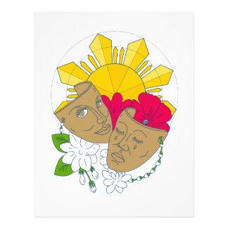 Drama Mask Philippine Sun Hibiscus Sampaguita Flow Letterhead