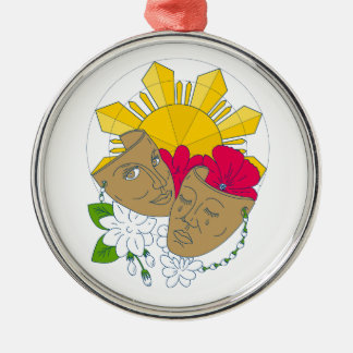 Drama Mask Philippine Sun Hibiscus Sampaguita Flow Metal Ornament