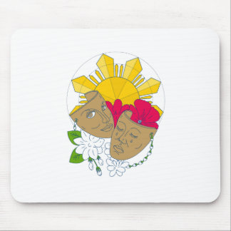 Drama Mask Philippine Sun Hibiscus Sampaguita Flow Mouse Pad