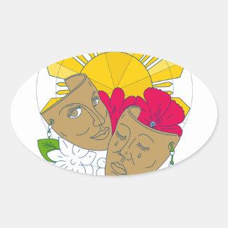 Drama Mask Philippine Sun Hibiscus Sampaguita Flow Oval Sticker