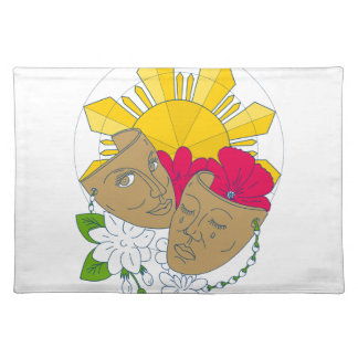 Drama Mask Philippine Sun Hibiscus Sampaguita Flow Placemat
