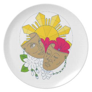 Drama Mask Philippine Sun Hibiscus Sampaguita Flow Plate