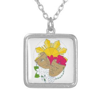 Drama Mask Philippine Sun Hibiscus Sampaguita Flow Silver Plated Necklace