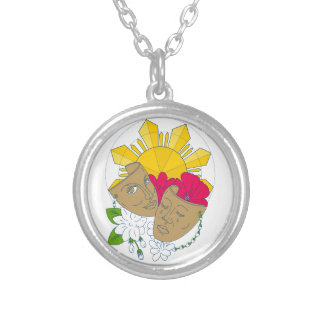 Drama Mask Philippine Sun Hibiscus Sampaguita Flow Silver Plated Necklace