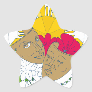 Drama Mask Philippine Sun Hibiscus Sampaguita Flow Star Sticker