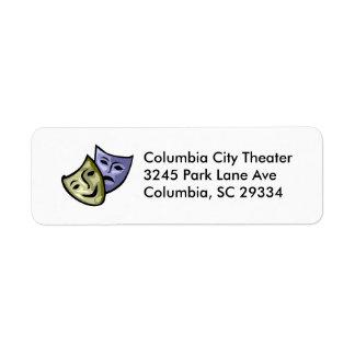 Drama Mask Return Address Label