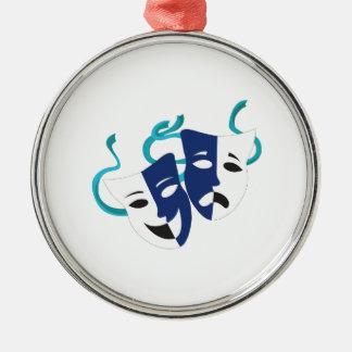 Drama Masks Silver-Colored Round Ornament