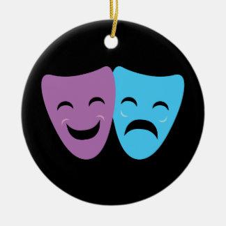 Drama Masks Round Ceramic Ornament