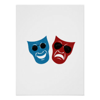 Drama Masks with Sunglasses Perfect Poster