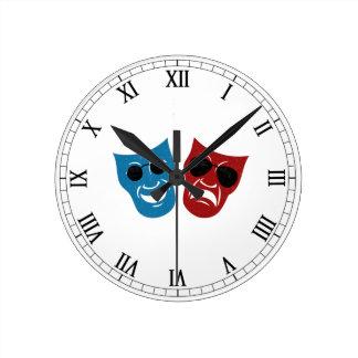 Drama Masks with Sunglasses Round Clock