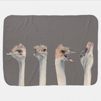 """""""Drama Queen"""" Funny Ostriches Painting Baby Blanket"""