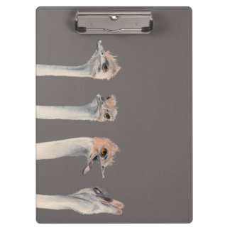 """""""Drama Queen"""" Funny Ostriches Painting Clipboard"""