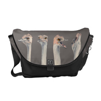 """Drama Queen"" Funny Ostriches Painting Commuter Bag"