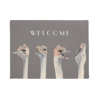 """""""Drama Queen"""" Funny Ostriches Painting Doormat"""