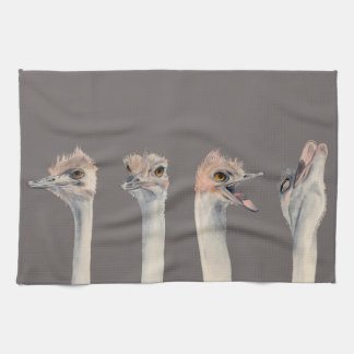 """Drama Queen"" Funny Ostriches Painting Kitchen Towel"