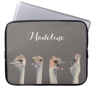 """Drama Queen"" Funny Ostriches Painting Laptop Sleeve"