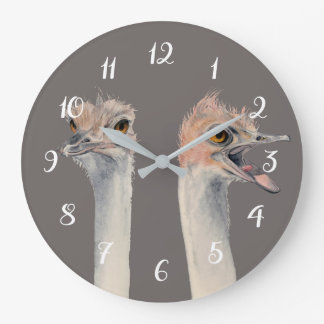"""""""Drama Queen"""" Funny Ostriches Painting Large Clock"""