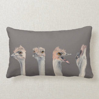 """""""Drama Queen"""" Funny Ostriches Painting Lumbar Pillow"""