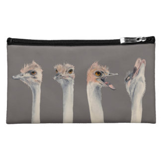 """""""Drama Queen"""" Funny Ostriches Painting Makeup Bag"""