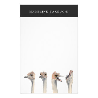 """Drama Queen"" Funny Ostriches Painting Stationery"