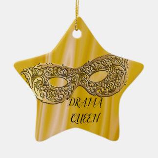 Drama Queen | Masquerade Mask Gold Ceramic Ornament
