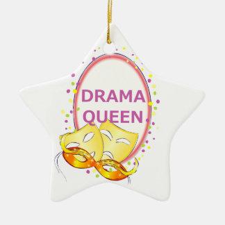 Drama Queen Theater Masks Ceramic Star Ornament