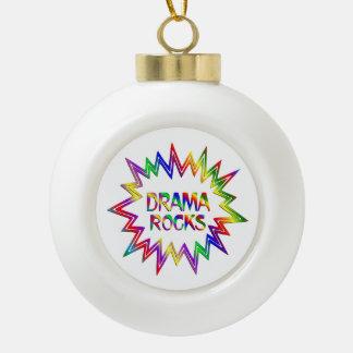 Drama Rocks Ceramic Ball Christmas Ornament