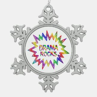 Drama Rocks Snowflake Pewter Christmas Ornament