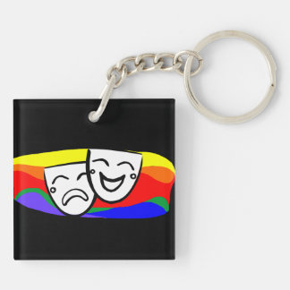 Drama: the Rainbow Swirls Double-Sided Square Acrylic Keychain