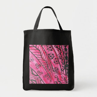 Dramatic abstract graphic in red and black grocery tote bag