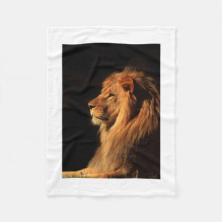 Dramatic African Lion Portrait Fleece Blanket
