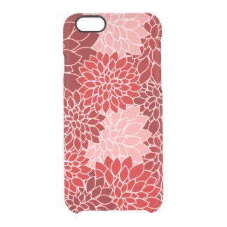 Dramatic and Gorgeous Red Dahlia Flower Pattern Clear iPhone 6/6S Case