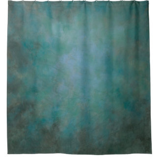 Dramatic aqua blue-green and gray shower curtain