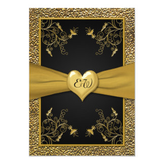 Dramatic Black and Gold Heart Wedding Invitation