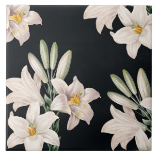 Dramatic Black and White Lilies Tile