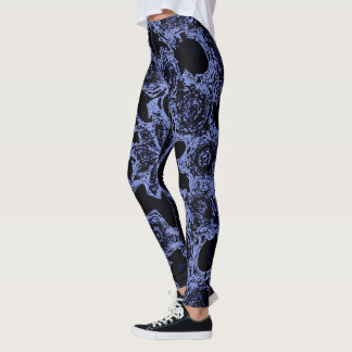 Dramatic black & denim abstract design leggings