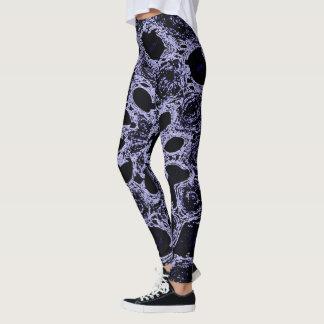 Dramatic black & lilac abstract design leggings