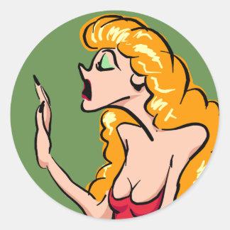 Dramatic Blond Actress Classic Round Sticker