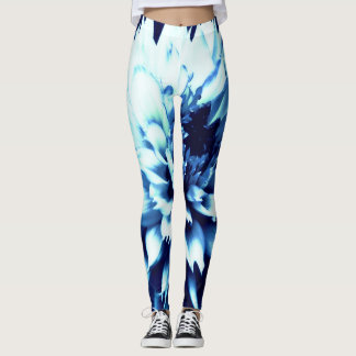 Dramatic blue dahlia leggings