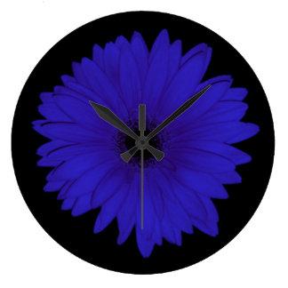 Dramatic Blue Daisy Clock