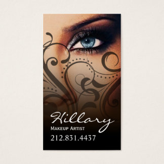 Dramatic Blue Eyes Makeup Artist | black Business Card